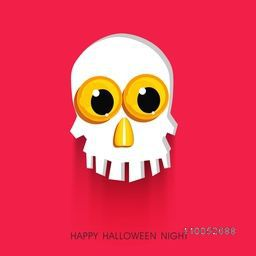Stylish Halloween party poster with scary human skull and stylish text on pink background.