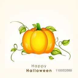 Beautiful poster of Halloween party with pumpkin, leaves and stylish text on beige background.