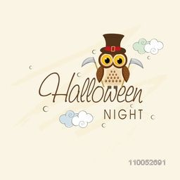 Stylish poster for Halloween night with scary owl holding axe in his hand.