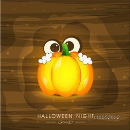 Stylish poster for Halloween night with a ghost holding a pumpkin on brown background.