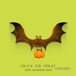 Stylish Halloween night poster with flying bat holding a pumpkin and text Trick Or Treat on green background.