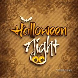 Stylish Halloween night poster with vampire's scary eyes and silhouette of flying bat on floral decorated brown background.