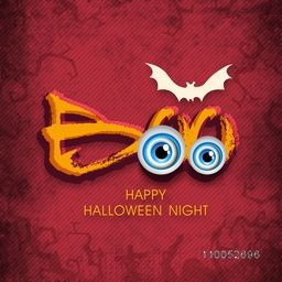 Stylish Halloween night poster with vampire's scary eyes, silhouette of flying bat and text BOO on pink background.