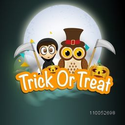 Horrible night scene with vampire boy, scary owl holding axe, pumpkins and stylish Trick Or Treat text.