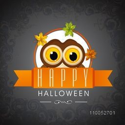 Stylish poster for Halloween party with scary eyes and Halloween text on floral decorated background.