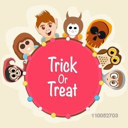 Stylish rounded tag or sticker of text Trick Or Treat with scary ghost faces, skull and owl.
