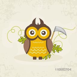 Dangerous owl holding an axe with tree leaves on stylish background.