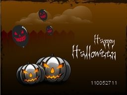 Stylish poster for Happy Halloween with scary faces of pumpkin and flying balloons on night view.