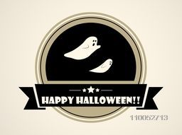 Happy Halloween tag, label or sticker with flying ghosts on beige background.