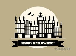 Stylish poster and banner with silhouette of building, flying ghost and stylish Halloween text on ribbon.