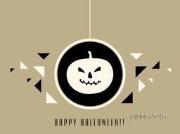 Stylish poster for Halloween party night with scary pumpkin face in hanging frame and text.