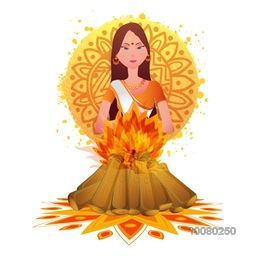 Creative illustration of Holika in fire on floral design decorated background for Indian Festival of Colours, Happy Holi celebration.