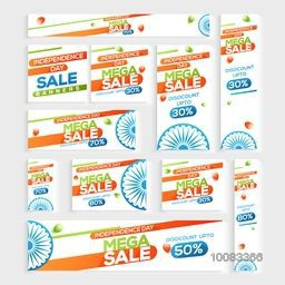 Creative Social Media Post, Banner and Header set of Sale for Happy Indian Independence Day celebration.