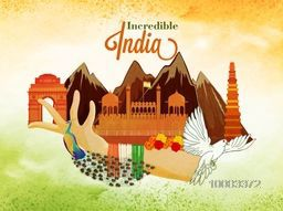 View of Incredible India, Creative illustration of Indian National Symbols, Indian Culture, Indian Famous Monuments, Beautiful background for Independence Day and Republic Day celebration.