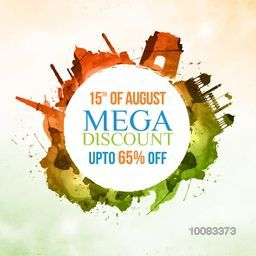15th of August, Mega Discount upto 65% Off, Sale Poster, Sale Banner, Sale Flyer, Abstract Sale Background with illustration of Indian Famous Monuments for Happy Independence Day celebration.