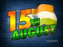 Creative glossy text 15th August with Waving Indian Flag on blue background, Vintage Poster, Banner or Flyer design for Indian Independence Day celebration.