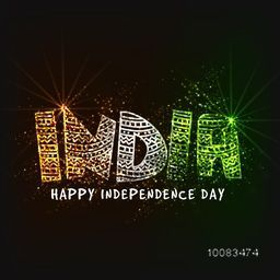 Glossy National Tricolor Text India for Happy Independence Day celebration, Can be used as poster, banner or flyer design.