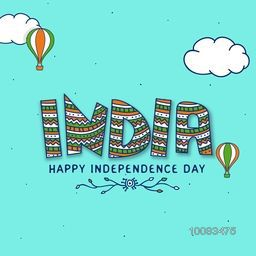 Elegant Greeting Card design with National Tricolor Text India on sky blue background for Happy Independence Day celebration.