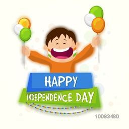 Cute Happy Boy holding Tricolour Balloons, Celebrating and enjoying on occasion of Happy Indian Independence Day.