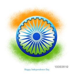 Glossy Ashoka Wheel on saffron and green colour splash background for Happy Indian Independence Day celebration.