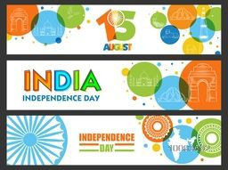 Creative website header or banner set with line art illustration of Indian National Symbols and Monuments for 15 August, Independence Day celebration.