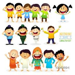 "Set of Cute Characters as Kids wearing t-shirts making word India, Different Religion People showing ""Unity in Diversity of India"" and Saluting Armed Force Officers, Vector illustration for Indian Independence Day celebration."