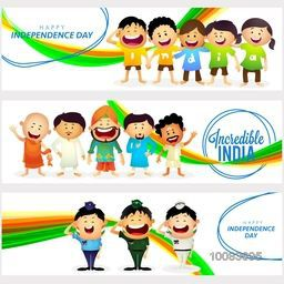 Creative Website header or banner set with Cute Characters as Kids wearing t-shirts making word India, Different Religion People showing Unity in Diversity of Incredible India and Saluting Armed Force Officers for Independence Day celebration.