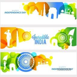 Creative Website Header or Banner set, Illustration of Famous Monuments and Saluting Soldier of Incredible India, Glossy Abstract Background with Flag Colour Circles and Ashoka Wheel for Independence Day.