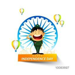 Saluting Army Officer on occasion of Happy Independence Day, Creative background with Big Ashoka Wheel, Indian Flag Color Hot Air Balloons and Famous Monuments, Vector illustration for Indian National Festival celebration.
