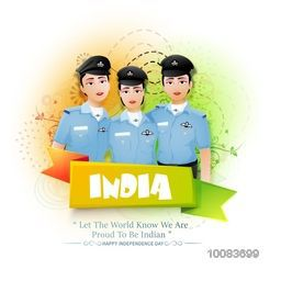 Proud of India, Creative illustration of Three Indian Women Fighter Pilots on abstract background, Glossy Ribbon with stylish text India, Vector illustration for Independence Day celebration.