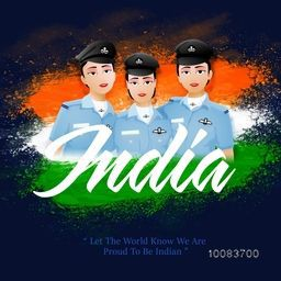 Proud of India, Creative illustration of Indian Women Fighter Pilots with Stylish Text India on National Flag Colour background, Vector illustration for Independence Day celebration.