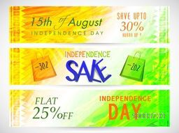 15th of August, Indian Independence Day Sale with Flat 25% Discount Offer, Creative website header or banner set.