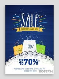 Sale Poster, Sale Banne, Sale Flyer, Upto 70% Off, Sale Background for Happy Indian Independence Day celebration.