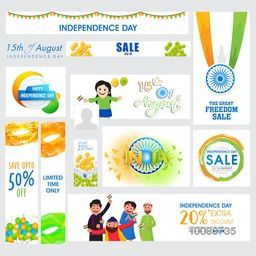 Sale Social Media Post and Header set with Indian Flag colour elements and cute characters for 15th of August, Independence Day celebration.
