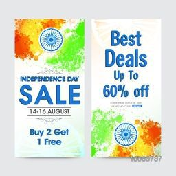 Creative website banner set of Sale with Best Deals Offer, Sale Background with Indian Flag colour splash and Ashoka Wheel, Vector illustration for Independence Day celebration.