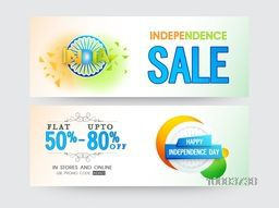 Happy Independence Day, Sale website header or banner with Flat 50% - 80% Off, Creative vector illustration.