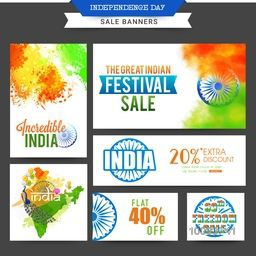 Set of Sale Banners, Great Indian Festival Sale, Freedom Sale, Extra Discount Offer, Sale Typographical Background, Creative vector illustration for Indian Independence Day celebration.