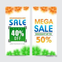 Sale Website Banner set, Independence Day Sale, Mega Sale, Flat Discount, Discount upto 50%, Creative Sale Background, Vector illustration for Indian National Festival celebration.