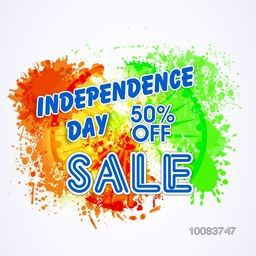 Independence Day Sale, Sale Poster, Sale Banner, Sale Flyer, 50% Off, Abstract Sale Typographical Background with colour splash and Ashoka Wheel, Vector illustration for Indian National Festival celebration.