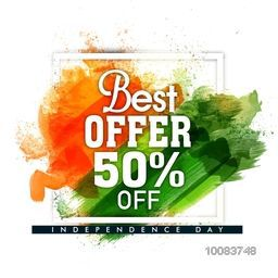 Best Offer Sale and Discount, Sale Poster, Sale Banner, Sale Flyer, 50% Off, Abstract Sale Background with Saffron and Green colour brush stroke, Vector illustration for Indian Independence Day celebration.