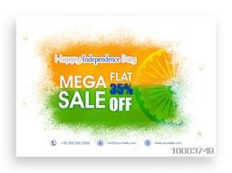 Mega Sale Poster, Sale Banner, Sale Flyer, Flat 35% Off,  Sale Background with Ashoka Wheel, Sale vector illustration for Indian Independence Day celebration.