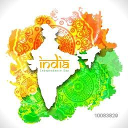 Republic of India Map on Indian Flag Colour Splash and floral design decorated background for Independence Day celebration.