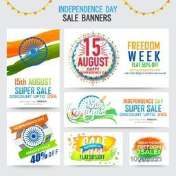 15 August, Independence Day Sale Banner Set, Freedom Sale Paper Ribbon, Abstract Sale Typographic Background, Creative illustration with different elements in Indian Flag Colors.