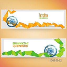Sale Website Header or Banner set with space for your text, Creative Sale Background with Glossy Ashoka Wheel and Flag Colour Ribbon, Vector illustration for Indian Independence Day celebration.