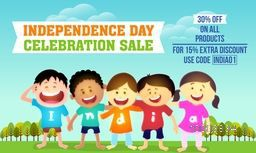 Independence Day celebration Sale and Discount, Beautiful Sale Background with cute kids wearing t-shirts making word India, Can be used as Poster, Banner or Flyer design. Creative vector illustration.
