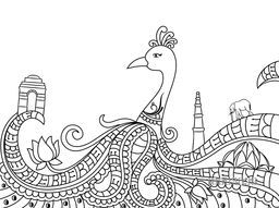 Creative line art design of Indian National Bird Peacock with other symbols and monuments for Independence Day and Republic Day celebration, Black and white vector illustration.