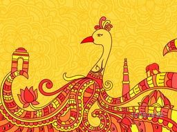 Creative line art design of Indian National Bird Peacock with other symbols and monuments for Independence Day and Republic Day celebration.