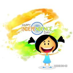 Cute Little Girl holding Indian National Flags in both hands on creative abstract tricolor background, Concept for Happy Independence Day celebration.