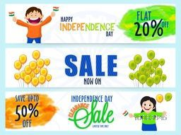 Independence Day Sale website header or banner set, Clearance Sale header, Flat Discount Offer, Vector illustration with cute kids characters and balloons.