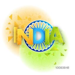 Indian Flag colour Text India with Ashoka Wheel on abstract floral background for Happy Independence Day and Republic Day celebration.